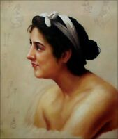 Hand Painted Oil Painting Repro Bouguereau Woman Offering To Love 20x24in