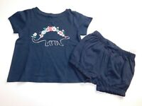 NWT Gap Baby Outfit Girl's 2Pc Blue Dinosaur Top/Bubble Shorts 18-24M MSRP $30