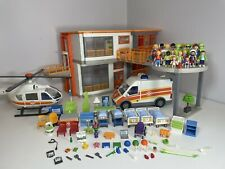 Playmobil 6657 & 6645 City Life Furnished Hospital, Helipad, Ambulance & Extras
