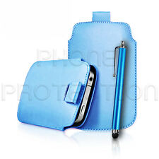 LEATHER PULL TAB CASE COVER POUCH SLEEVE HOLSTER & STYLUS FOR VARIOUS PHONES