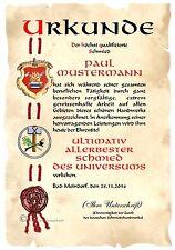 Urkunde SCHMIED DIN A4  HW Diplom  Arbeits- Geschäfts- Jubiläum