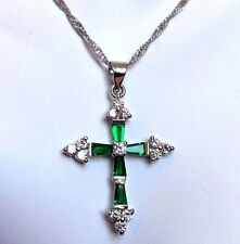 C White Gold Filled Cross & Chain, Green Emeralds & Sim Diamonds BOXED Plum UK