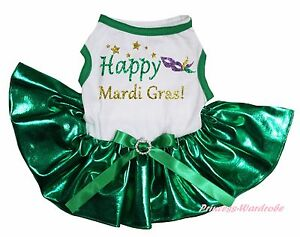 Happy Mardi Gras Mask White Top Bling Kelly Green Skirt Pet Cat Dog Puppy Dress