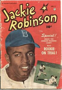 JACKIE ROBINSON #5-1951-FAWCETT-BROOKLYN DODGERS BASEBALL COMIC-PHOTO COVERS