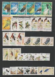 Bhutan - Small Collection of 34 Bird stamps - MNH