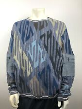 Vtg Coogi Sweater Blue Multicolor Mens XL Leather