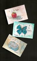 ACEO ABCs Apple Butterfly Cat Watercolor/Pen Original Art Painting Penny StewArt