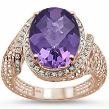 14k Rose Gold Oval Amethyst Diamond Ring