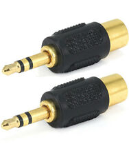 "2x RCA Female to 3.5mm 1/8"" Stereo Male Audio Adapter Gold Plated F/M"