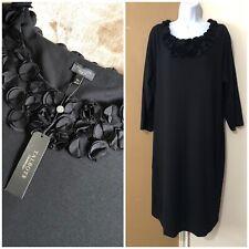 NWT $189 Talbots Woman Sz 18W Sheath Dress Black Scoop Neck Applique 3/4 Sleeve