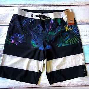 VANS Era Board Shorts Mens Black Gray Tropical Floral 4 Way Stretch New