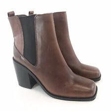 Autograph Size UK7 Chocolate Leather Ankle Chelsea Pull On Platform Heels Boots