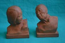 2 bustes en terre cuite personnages asiatiques signés G. Hauchecorne