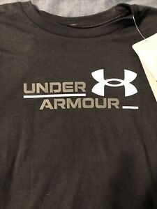 Boy's Under Armour Short Sleeve Shirt Black & White Sz Youth Large YLG NEW NWT