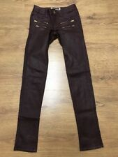 """River Island Womens Maroon Costed Faux Leggings Jeans Size 6UK W26"""" L31"""""""