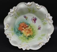 "RS Prussia German Steeple Mold 2 Chrysanthemums Green & Gold 10 1/4"" Bowl"