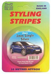 Silver 3mm x 10mtr Self Adhesive Car Pin Stripe Coach Tape Syling Stripe