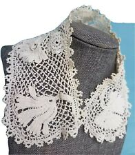 Antique Lace Collar Irish Crochet Vtg Hand Made Sewing Trim for Baby Doll Dress