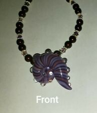 Hand-blown Glass Seashell Pendant & Swarovski Pearls/Crystal Necklace 925 SS