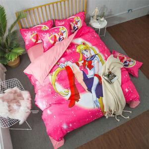 Sailor Moon Anime Cosplay Duvet Covers Pillow Cases Children 3PCS Bedding Sets