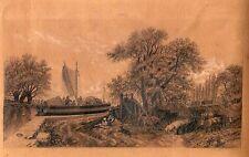 Dessin au Fusain d'après FEROGIO par Louise Duhail 1870 Scène Animée