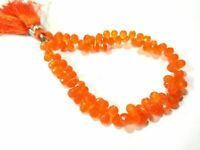 """91Cts/80Pcs Natural Carnelian Teardrop 5x7-5x8mm, Faceted Gemstone Beads 8""""Inch"""