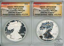 2-Coin Set - 2012-S Rev. PF 70 + 2012-S PF 70 DCAM 1oz American Silver Eagles!