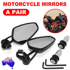 "Pair Motorcycle bike Bar End Mirrors Rear Side View Cafe Racer 7/8"" Universal AU"