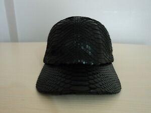 Black Genuine Python Snake Skin Leather Baseball Hat Cap Adjustable Snakeskin