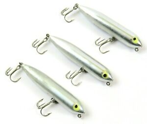 Lot of 3 Heddon Zara Puppy Topwater Fishing Lure, Silver Chrome