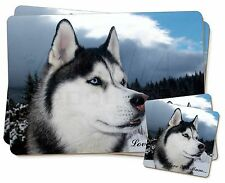 Siberian Husky 'Love You Mum' Twin 2x Placemats+2x Coasters Set in , AD-H52lymPC