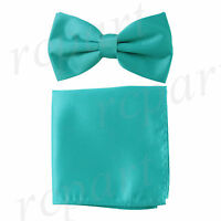 New formal men's pre tied Bow tie & Pocket Square Hankie solid teal wedding