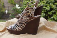 Steve Madden Wedges Size 8 Platform Reptile Heel Snake Strap Sandals Shoes