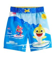 NWT - Toddler Boys' Pinkfong Baby Shark Swim Trunks - Blue - 4T Swimsuit Shorts