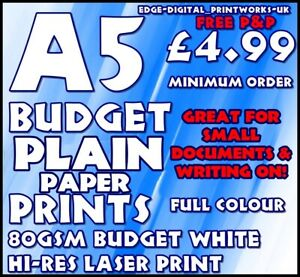A5 SMALL DOCUMENT / PLAIN PAPER LEAFLET PRINTING / ADVERTISING 80-100GSM MATTE