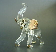 Glass ELEPHANT, Roaring Elephant, Gold Painted Glass Ornament, African Animal