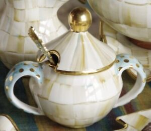 MacKenzie-Childs Parchment Check Sugar Bowl with Lid - HTF
