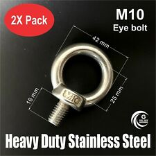 2X M10 EYE BOLT Heavy Duty STAINLESS STEEL Lifting Roof Rack Boat Shade 10mm