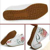 New Women's Embroidery Canvas Casual Pumps Sports Hidden Heel Sneakers Shoes