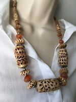 Vintage Carved Bone & Carnelian Necklace Ethnic Monies style