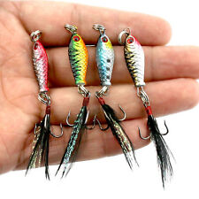 4 Hard Metal Fishing Lures Small Minnow Lure Bass Crank Bait Tackle Hooks Lots