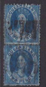 QUEENSLAND 1876 2d Blue QV CHALON Q WMK RARE VERTICAL PAIR  (LD99)