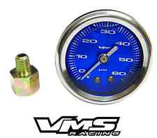 "VMS MUSTANG 1 1/2"" 60PSI BLUE FUEL PRESSURE GAUGE LIQUID FILLED 1/16 NPT TO 1/8"