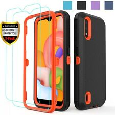 For Samsung Galaxy A01 A11 A21 A10e A20 A20S Case Armor Cover+HD Tempered Glass