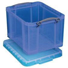 "Really Useful Box Plastic Storage Box, 32 Liters, 12""H x 14""W x 19""D, Blue"
