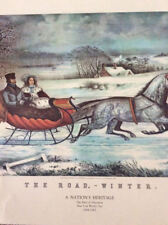 Nathaniel Currier, American, 1813-1888 The Road, Winter - Colored Lithograpph