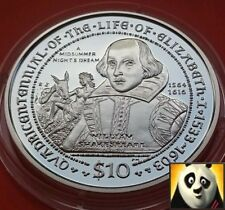 2003 British VIRGIN ISLAND $10 dieci dollari William Shakespeare SILVER PROOF COIN