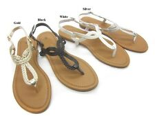 WOMENS LOOPY BRAIDED ROMAN GLADIATOR OPEN TOES THONG SANDALS  6 7 8