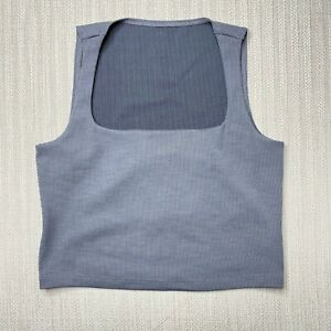 Beyond Yoga Heather Rib Square Neck Cropped Tank Gray Womens Medium Athletic