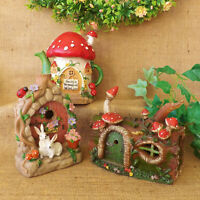 Secret Garden Log Cottage Teapot Miniature Fairy Flower House Solar Light Up